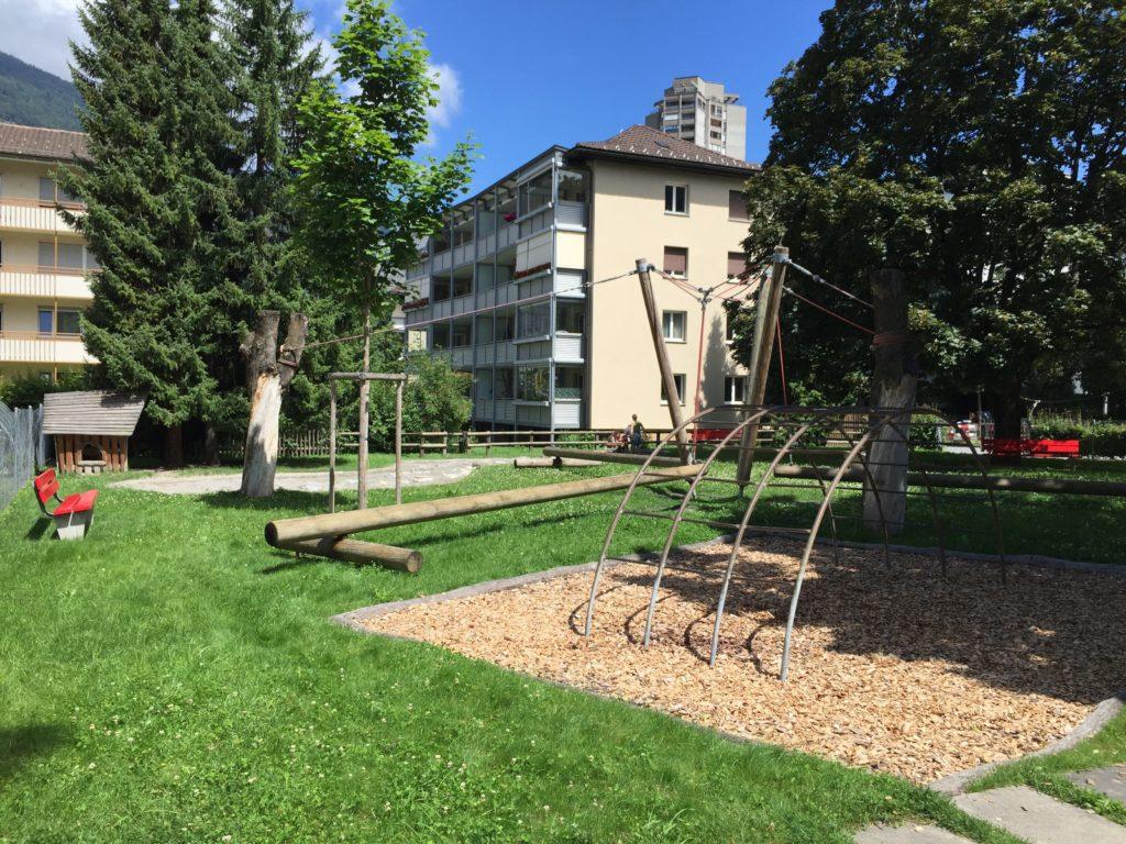 beliebter Spielplatz in Graubünden
